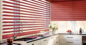 Red faux wood shutters in kitchen