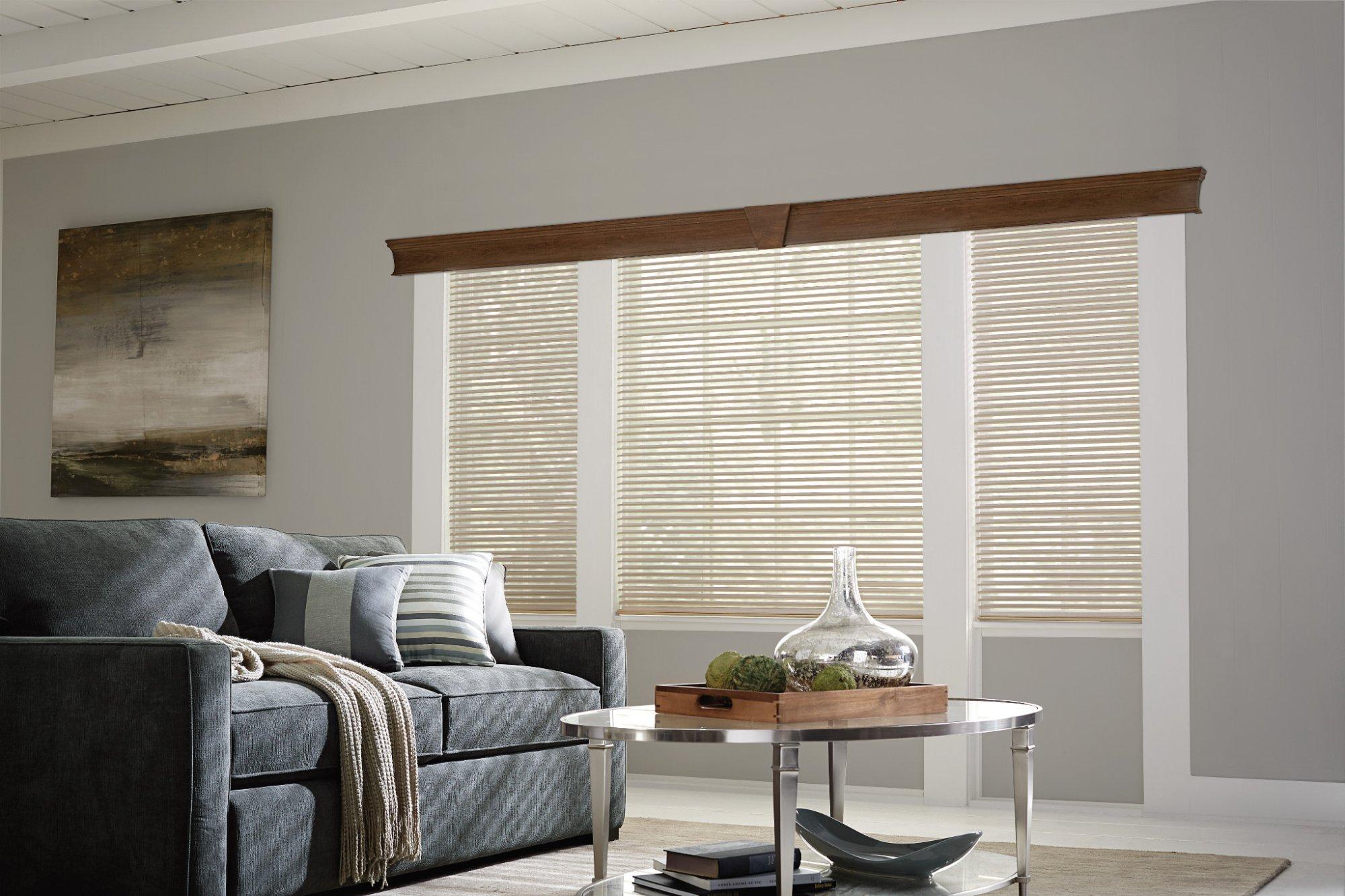 Beige window treatments in living room