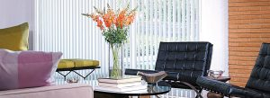 living space with vertical blinds