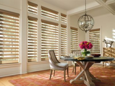Dining room with large windows and blinds