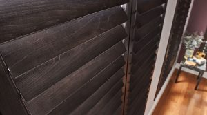 Dark brown hardwood shutters