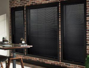 Dark colored aluminum blinds