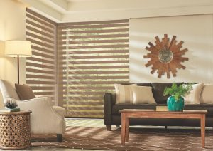 living space with layered shades