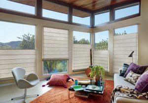 Elegant, tan window treatments