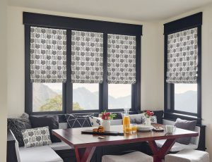 Windows with decorative shades